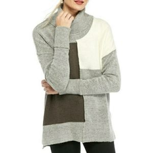 NWT New Directions Color Block Cowl Neck Sweater